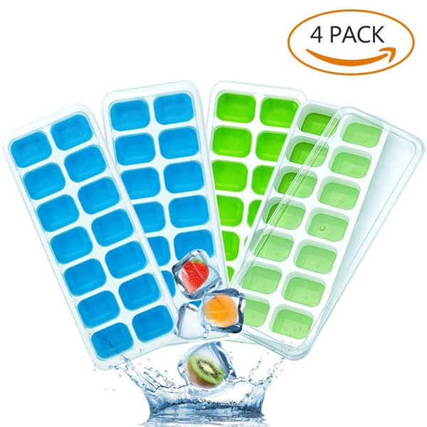 Ice Cube Trays 4 Pack, Easy-Release Silicone and Flexible 14-Ice Trays, LFGB Certified and BPA Free, Stackable Durable and Dishwasher Safe