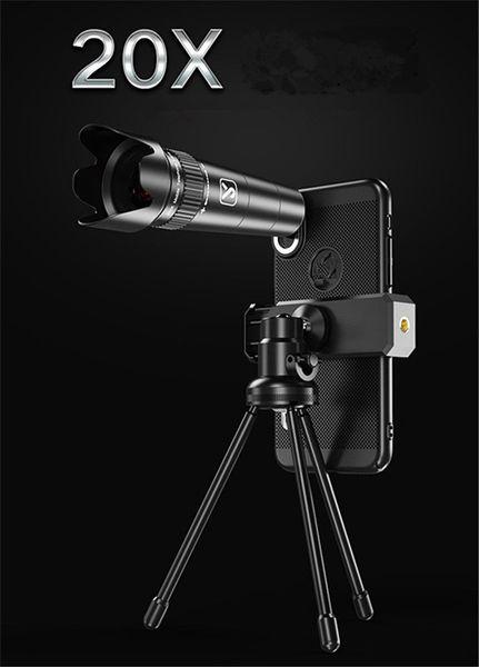 Kit de lentilles de téléphone 20x HD Fisheye Grand Angle Mobile Téléphone Camera Lens Trépied pour Samsung Huawei Smartphones
