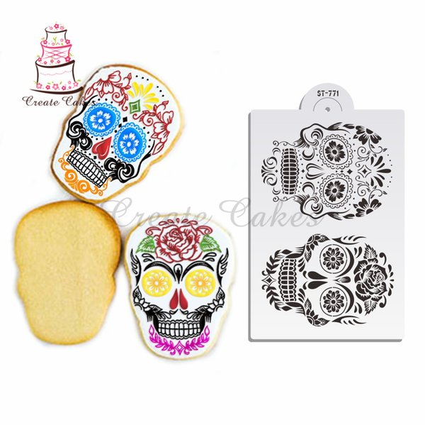 Skull Design Stencil Fondant Cake Plastic Stencil for Cupcake Decoration Template Mold Decorating Cookies Backing Tools st-771