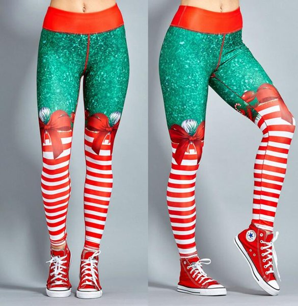 2019 Hot Women Christmas Yoga Pants High Waist Elastic Fitness Sport Leggings Tights Slim Running Sportswear Quick Dry Training Trousers From Vanesse
