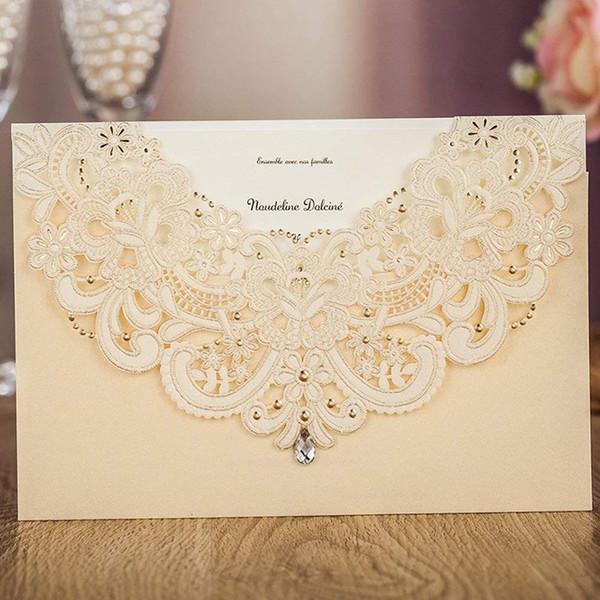 WISHMADE 50PCS Gold Cut Laser Invitaciones de boda con RSVP y tarjetas de agradecimiento Diseño para compromiso Matrimonio Ducha nupcial Imprimible