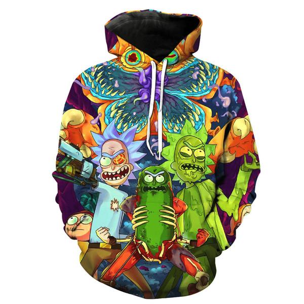 3D sudadera con capucha de Rick y Morty Hombres Mujeres 2018 sudadera con capucha de Rick Cartoon con estampado divertido Mens Harajuku Hip Hop Streetwear