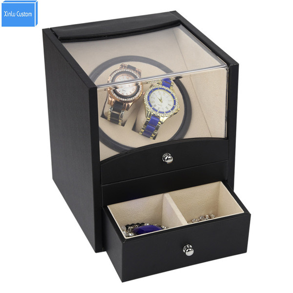 Fornecimento especial relógio automático winder box 2 caixa do motor para relógios mecanismo com gaveta de armazenamento enviar por DHL Transporte Rápido