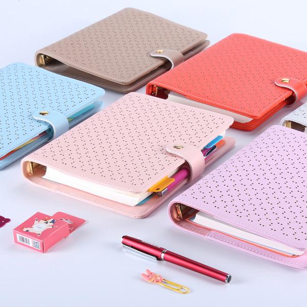 Nuevos cuadernos de espiral de cuero huecos creativos, planificador de la agenda de la oficina linda organizador / planificador diario de la carpeta de la persona Regalo envuelto A6A6