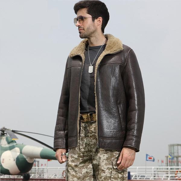 2018 dunkelbraune Männer echte beiläufige Lammfellmantel plus Größe XXXXL Winter starke russische Mode natürliche Pelzjacke FREIES VERSCHIFFEN