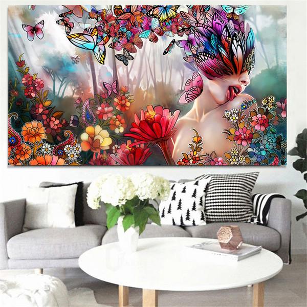 Impressão Abstrata Borboleta Psicodélica Sexy Mulher Nua Paisagem Pintura A Óleo sobre Tela Arte Moderna Retrato Da Parede para Sala de estar