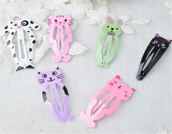 100PCS/LOT New Little Girl Cute Cartoon Animal Barrettes Kid Headwear Hair Clip Children Gift Hair Accessories Snap Clips Hairpins
