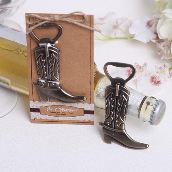 Abrebotellas creativo Hitched Cowboy Boot Western Birthday boda nupcial favores y regalos partido herramienta linda SN857