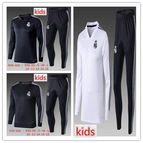 kids Real Madrid soccer tracksuit 2018 2019 child V-neck ASENSIO KROOS BENZEMA BALE ISCO MODRIC youth football tracksuit kit