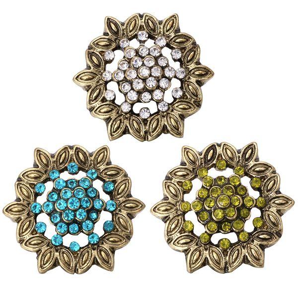 5pcs / lot En Gros Nouveau 18mm Bronze Snap Bijoux Strass Fleur Snap Boutons fit Bracelet Pour Les Femmes