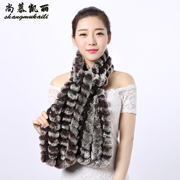 FUR Women Scarves Genuine Real Rex Rabbit Fur Shawl Colorful Scarf Wholesale Striped Lovely Scarf Spring Winter