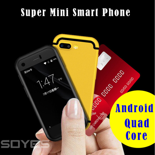 Super Mini Android Smart Phone Original SOYES 7S MTK6580 Quad Core 1GB+8GB 5.0MP Dual SIM Cell Mobile Phone X Red Golden color