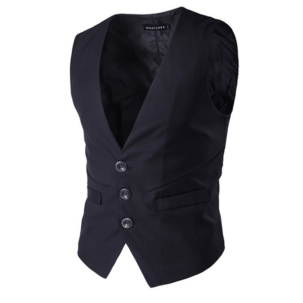 2017 new style hot sale Three button men's solid color Urban fashion suit vest men popular personality Business Casual Suit Vest