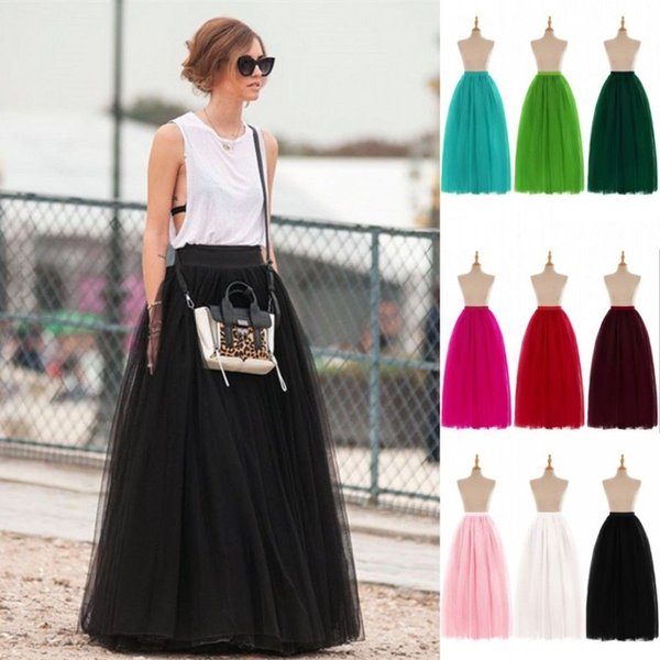 9b7e9b25cc Fashion Women Skirts All Colors 5 Layers Long Tutu Tulle A Line Plus Size  Free Shipping Long Caroline Bridal Petticoat For Dance CPA584