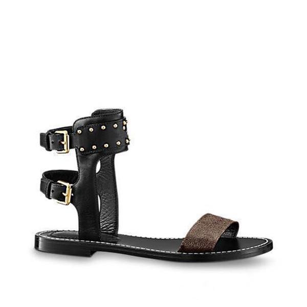 Nuevo Estilo Mujeres Clásicas de Lujo Nomad Sandalia Abrigo de Tobillo Zapatos de Tobillo-Envoltura Hebilla de Cinturón de Metal Sólido Confort Decoración Calf Sandalias de Cuero