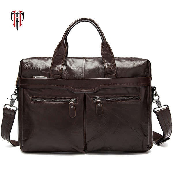 TIANHOO briefcase man leather bags genuine leather A4 folder package 14 inch laptop totes soft oil wax for men