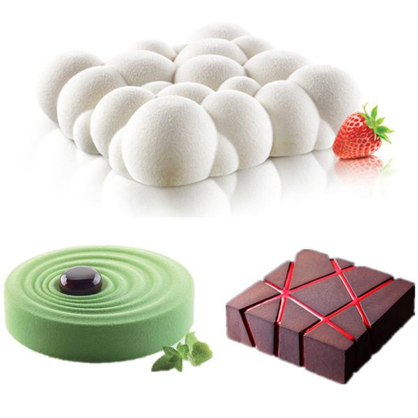 3 UNIDS Grid Bloque Nubes Ondulación 3D Mousse Pastel Moldes Para Helados Chocolates Pastel Molde Pan Para Hornear formas geométricas