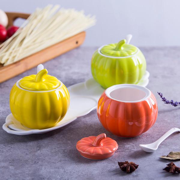 Creativa cerámica sazonar jarra sazonador coreano caja botella botella jarra salero calabaza utensilios de cocina