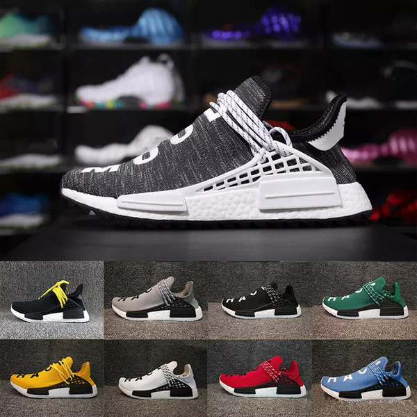 2018 Human Race Factory Real Boost Yellow Red Black Orange Men Pharrell Williams X Human Race Running Shoes Sneakers size 36-45 With Box