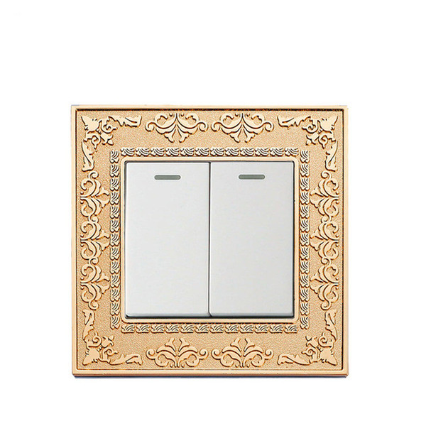 2 Gang 1 way / 2 way Gold color panel wall switch and 10A 220-250V lamp switch