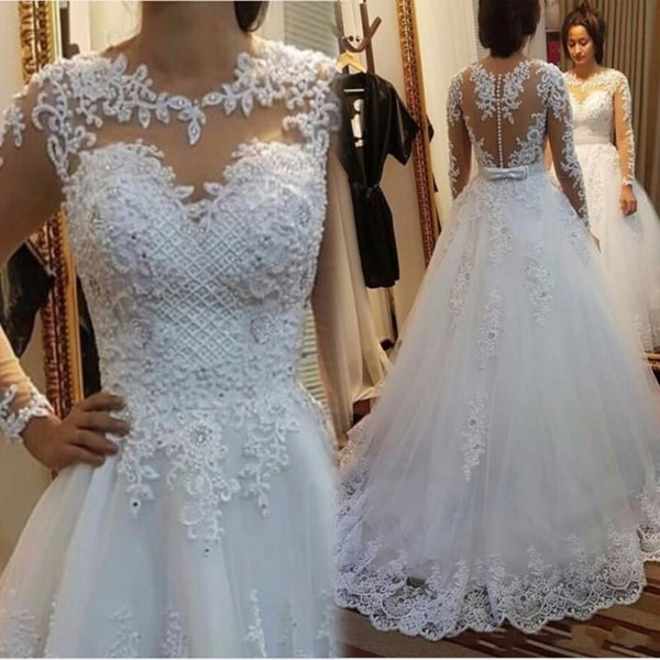 2018 New Sexy See Through Wedding Dresses Vestido De Noiva Merry Boat Neck Pearls Lace Custom Made China Spring Cheap Bridal Gowns