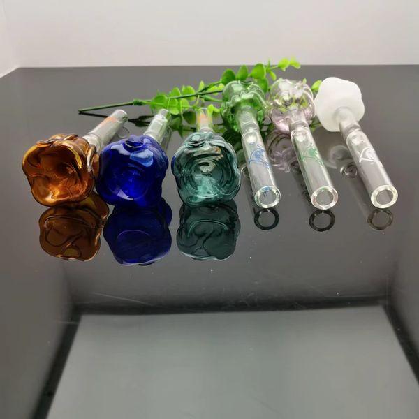 Renkli gül cam düz duman pot Cam bongs Yağ Brülör Cam Su Boruları Petrol Kuleleri Sigara Ücretsiz