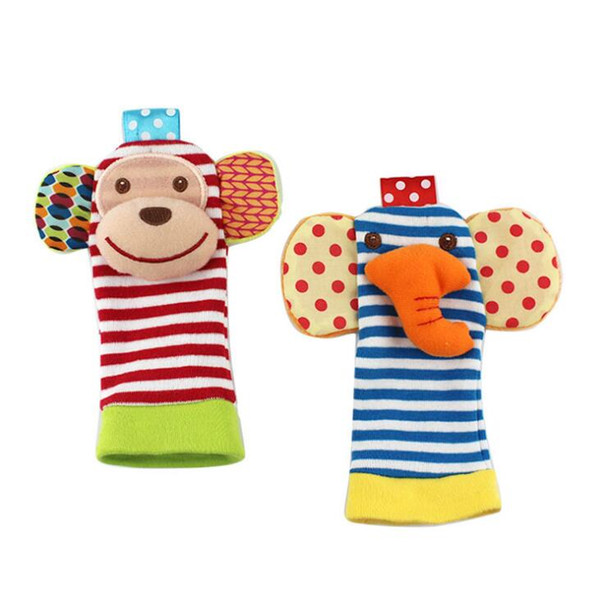 2017 babys toy New arrival sozzy Wrist rattle & foot finder Baby toys Baby Rattle Socks Lamaze Plush Wrist Rattle+Foot baby Socks 1000pcs