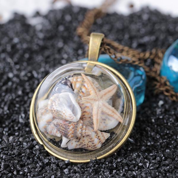 Sommer strand stil muschelschale starfish anhänger halskette vintage bronze farbe glasabdeckung meer meer ozean halskette schmuck