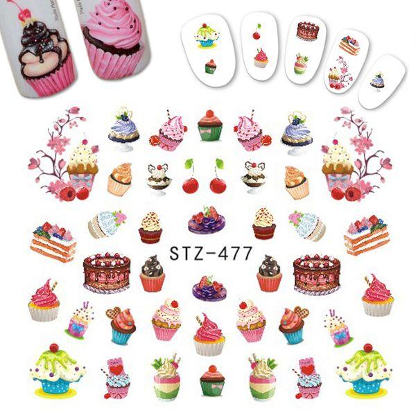 1PCS Delicious Dessert Cake Ice Cream Sticker Nail Designs for Children Tips Decor Nail Art Decals Watermark Manicure CHSTZ477