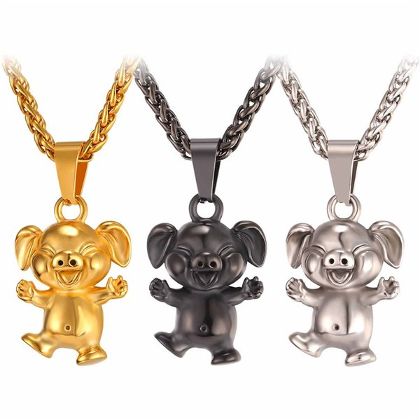 pig necklace New Cute Cartoon Pet Pig Necklace Pendant Collier Stainless Steel/Yellow Gold Color Men/Women Animal Lucky Happy Jewelry GP2463