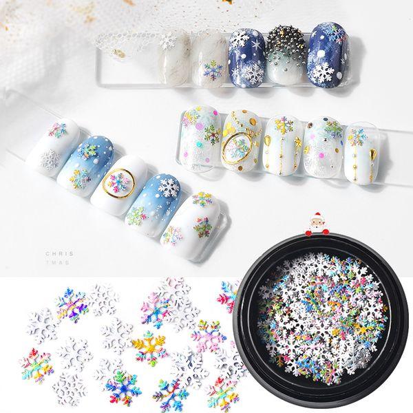 1box Natale colorato fiocchi di neve sirena arcobaleno paillettes misti decorazioni unghie artistiche 3d manicure gel UV accessori fornitura nuovo