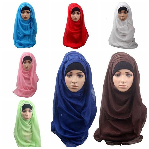 14 Couleurs Femmes Musulmanes Châle Écharpe Longue Couverture de Tête Foulard Silencieux Musulman Islamique Wrap Foulard Cou Couverture Complète Écharpe CCA10206 60pcs