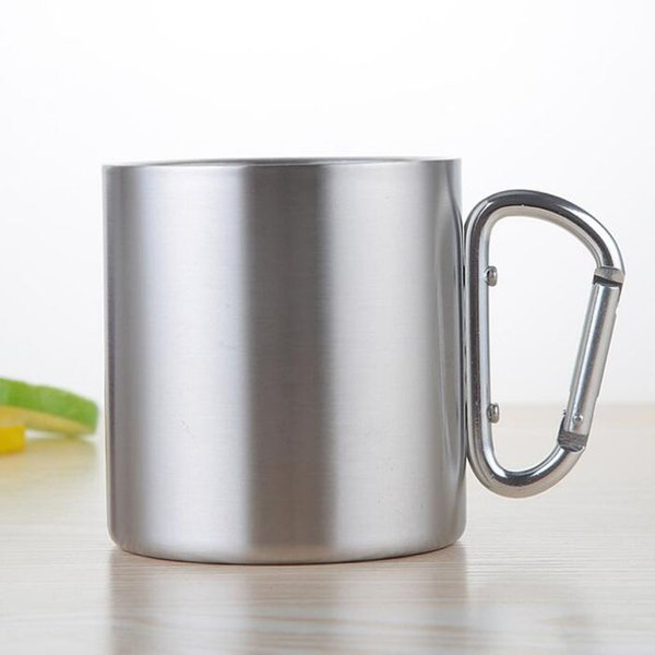 Portable Carabiner Handle Cup Stainless Steel Foldable Mug 220ml Outdoor Camping Clip Hook Mugs Free Shipping ZA6329