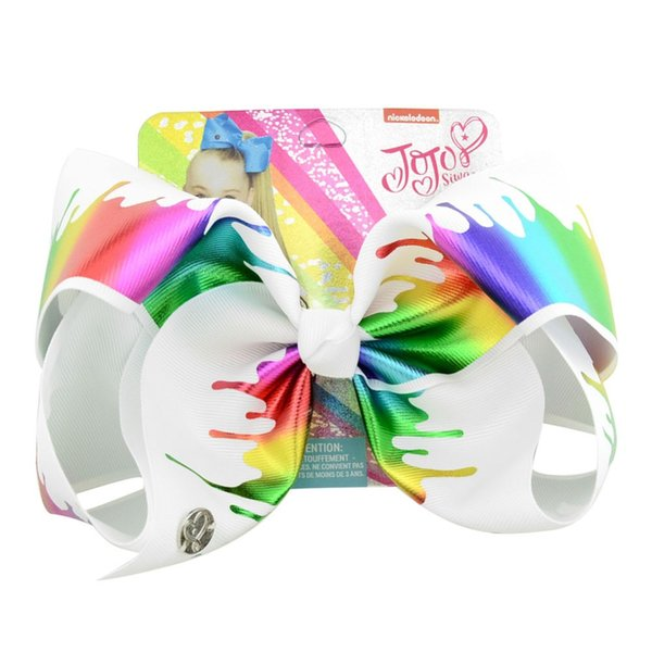 New 1piece 8inch Jo Jo Bows Rainbow Unicorn Hair Bows With Clips For Kids Girls Hairpins Handmade Hair Accessories for Girls