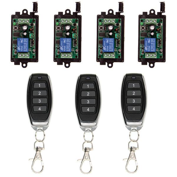 DC 9V 12V 24V 10A Relay 1CH Wireless RF Remote Control Switch 4CH Transmitter+ Receiver 315 / 433 MHz Controller Popular