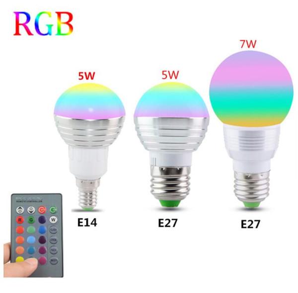 E27 E14 LED 16 Cambia colore RGB Magic Light Lampadina 85-265 V 110 V 120 V 220 V RGB Led Spotlight + IR telecomando