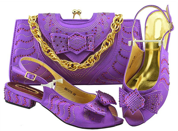 New fashion purple women kitten heel shoes with bowtie rhinestone bag for dress african shoes match handbag set MM1075
