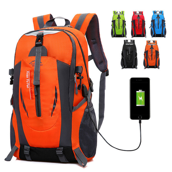 USB Rechargeable Bag 2018 New Backpack Men Large Outdoor Mountaineering Bag Female Sports Travel Mountain Camping Climbing