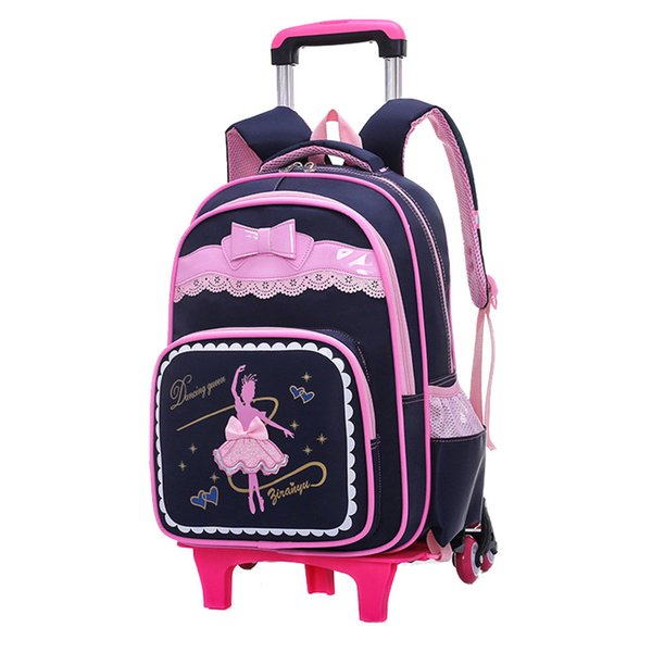 2/6 Wheels Children School Bags for Girls Trolley Backpack carton pattern rolling luggage kids detachable and orthopedic bag Y18100804
