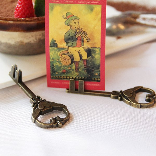 Retro Vintage Key Shape Place Card Holder Wedding Party Number Name Table Picture Photo Clip Card Stand
