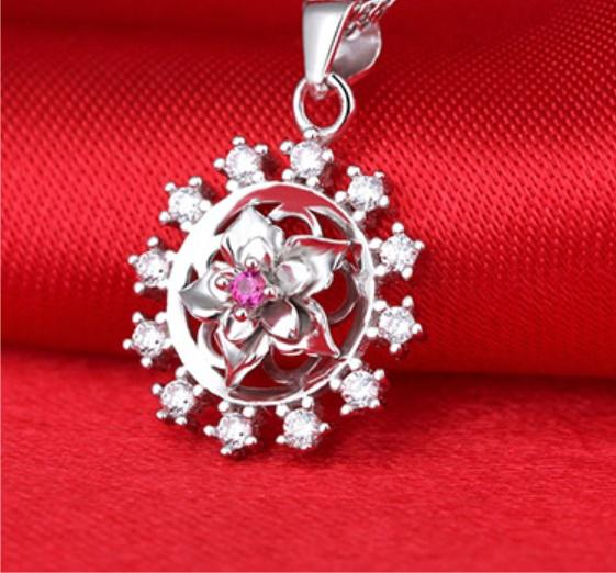 Lucky gardenia gemstone Hot S 925 Set drill jewelry Top grade crystal Necklace & Pendant Fashion Dazzling gem pendant necklace new arrival