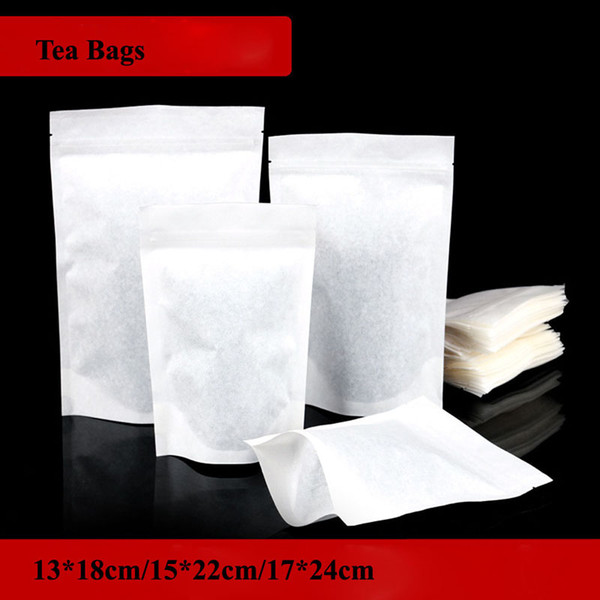 White Paper Tea Package Bags 3 Size Zip Lock Stand Up Bag Seal Packaging Pouch