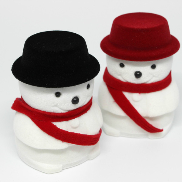 Fashion Velvet Jewelry Boxes Organizer Snowman Rings Stud Earring Necklace Pendant Storage Holder Case Xmas Gift Packaging Box