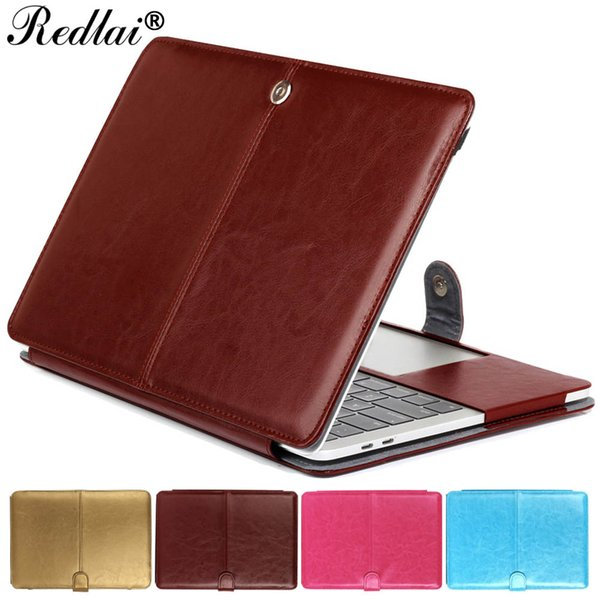 Redlai Laptop Case For Mac Air Pro Retina 11 12 13 15 PU Leather Sleeve For Mac  New 2017 Pro 13 15 with Touch bar A1706