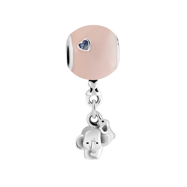Elephant and Pink Balloon Charm Fashion 925 sterling silver Beads diy Jewelry Fits for pandora Bracelets & necklace For Woman Gift