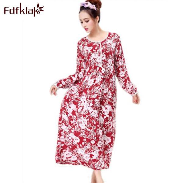 255d63c3e9ea2 Fdfklak M-XXL Large Size Cotton Long Sleeve Print Maternity Sleepwear  Nursing Nightgown Maternity Night