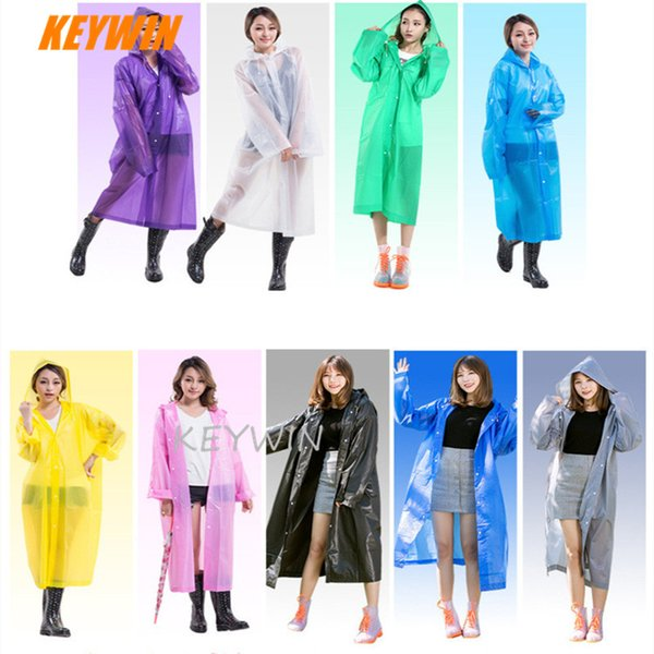 Fashionable Essential Travel Equipment Adult Raincoat Outdoor Hiking Camping EVA Transparent Rain Coat Poncho With Button and String
