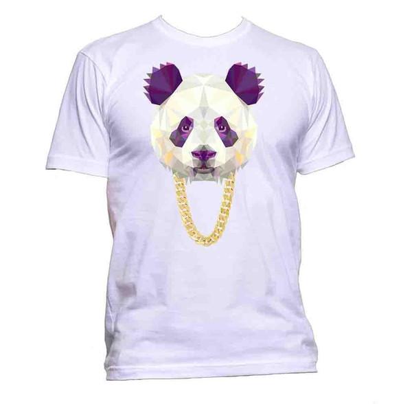 bf0768e0f3bcbc Panda Gangster Kette Tier geometrische Kopf Zeichnung T-Shirt Mens Womens  Unisex