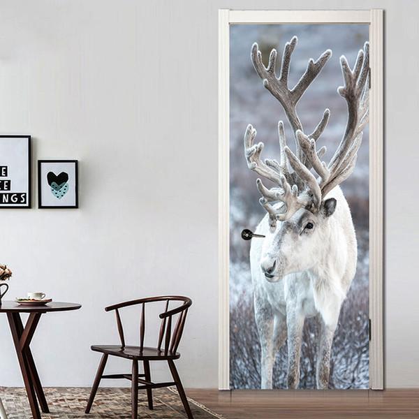 Creative Animal Elk Deer Door Stickers Painting Wallpaper Poster Wall Sticker Bedroom Living Room Home Decoration