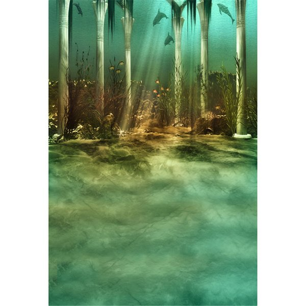 Under the Sea World Backdrop for Photography Printed Stone Pillars Dolphin Sunshine Through Deep Ocean Kids Party Photo Background